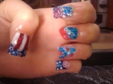 crazy 4th of july nails other hand