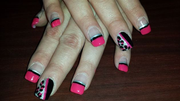Pink, black, sliver leopard