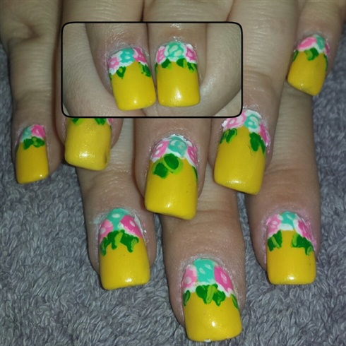 Bright yellow with roses
