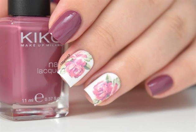 Elegant nails design with beautiful rose - Elegant Nails Design With Beautiful Rose - Nail Art Gallery