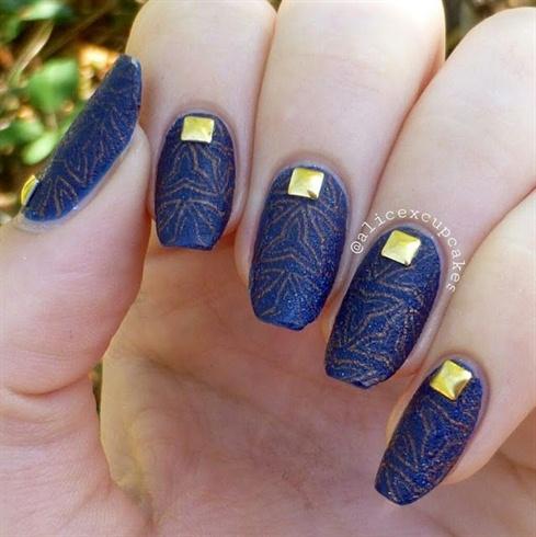3D Indigo studs nails decoration