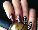 Dark and Elegant Manicure Flower Nails