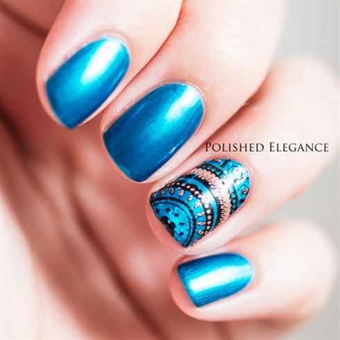 Nice Blue Classic Style Nail Art Design