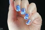 Blue Floral nail art water decals design