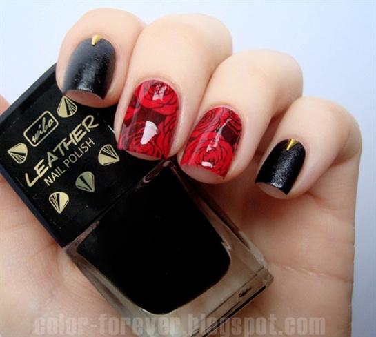 Nice Rose Nail Art Design