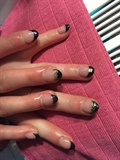 Black French And Golden Chain Nailart