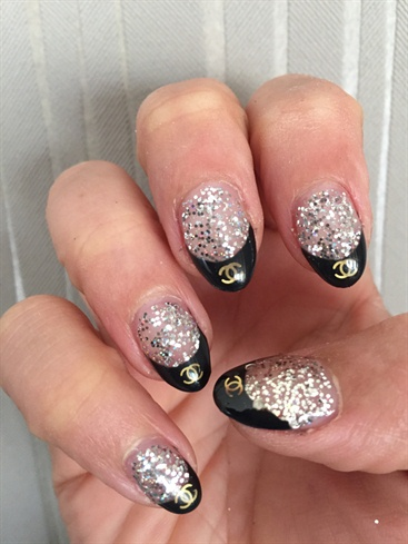 Silver Glitter And Black French