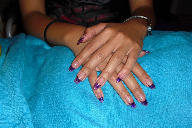 purple acrylic & pink mylar