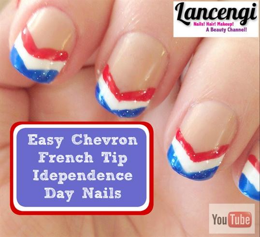Easy Patriotic  Chevron French Tip