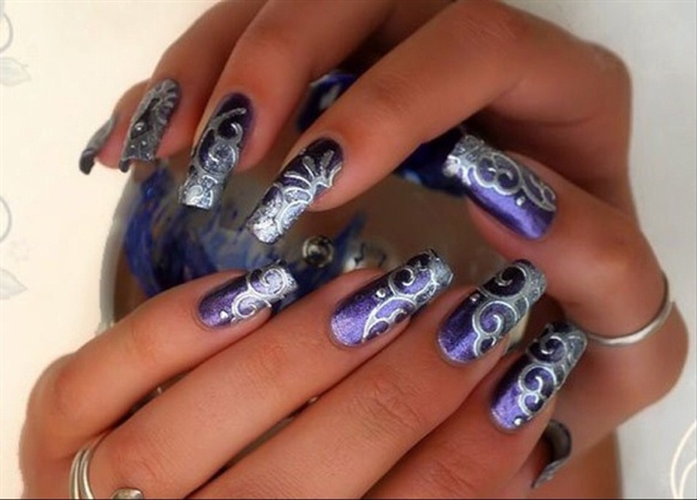 Purple Long Nails Nail Art Gallery