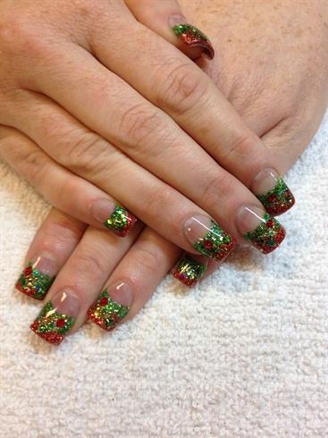 Christmas Glitter Fade Nail Art Gallery
