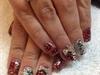 red silver acrylics las cegas nails