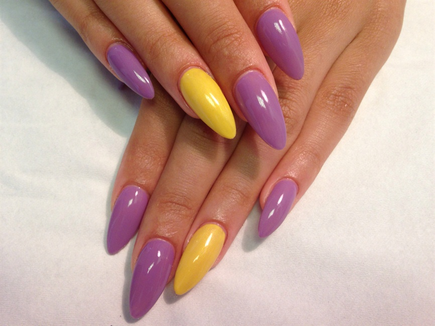 Purple And Yellow Almond Acrylics - Nail Art Gallery