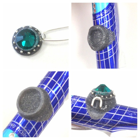 I place the jewelry wire through the bead, and clip the length.  Next I begin sculpting the ring.  I use a rounded surface to mimic the nail.  I use my electric file to clean it up, and then I make sure it fits properly.  I used a swiss bubble bit on my electric file to carve out grooves for the hinge.