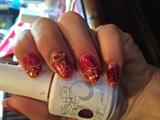 Fall glitter nail art