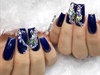 Navy Blue + Bling Square Nails