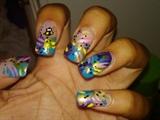 Bumble bee summer nails