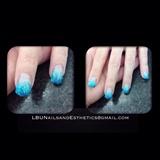 Acrylic Blue Glitter Ombre
