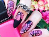 Pink & Black Floral lace Nail Art Stamping