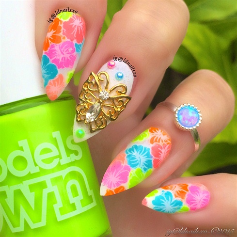 Neon Hibiscus Nails