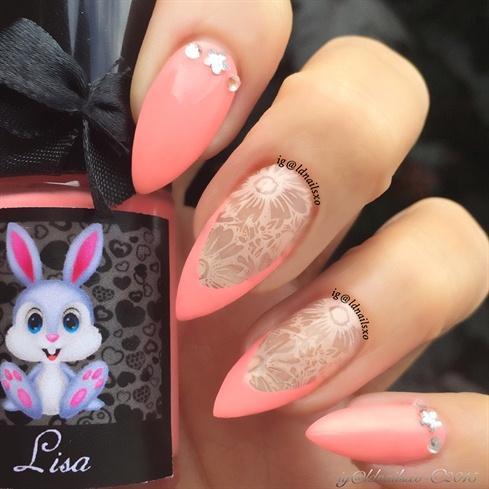 Peach and Cream Negative Space Nails