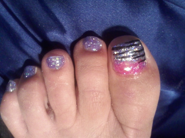 Purple Zebra Toes Nail Art Gallery