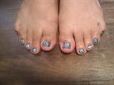 aqua glitter toes