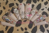 XL Ballerina Coffin Pastel Bling Hand Painted Nail Set