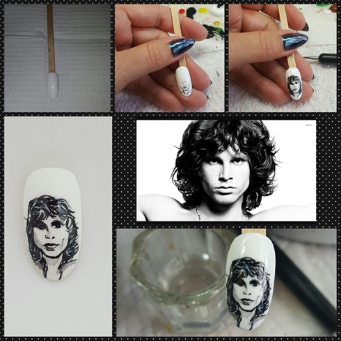 Jim Morrison is a legend and use to be a house band at the Whiskey A Go Go.  I started with a white polish as background.  I used black paint to fine detail first, the outside area around his face, neck and shoulders.  I then fine detailed his face and used black paint and water to smudge shadows.  I finished with white paint to accent the waves in his hair.
