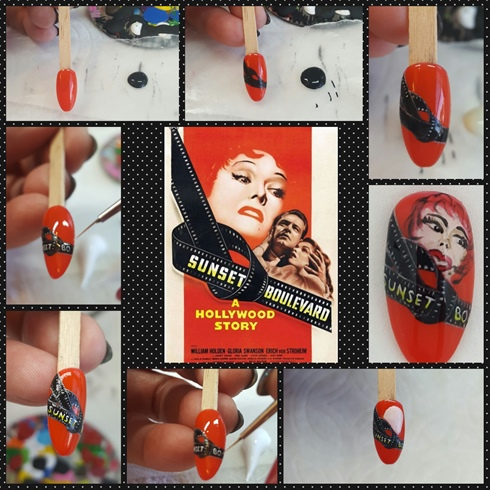 The 1950's film, Sunset Boulevard featured Gloria Swanson.  I started this nail with a red polish as background.  I then used a black paint for the film strip and white paint to detail the film and white  and yellow paint for the movie title.  I used a tan polish for Gloria's face, then fine detailed the rest of her face and hair with acrylic paints.