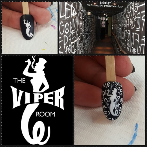 I love the look and logo of The Viper Room.  I started with a black polish as the background.  Using only white paint, I started with first centering the female serpent.  I then took images of the inside of the club and used it to frame my serpent woman.