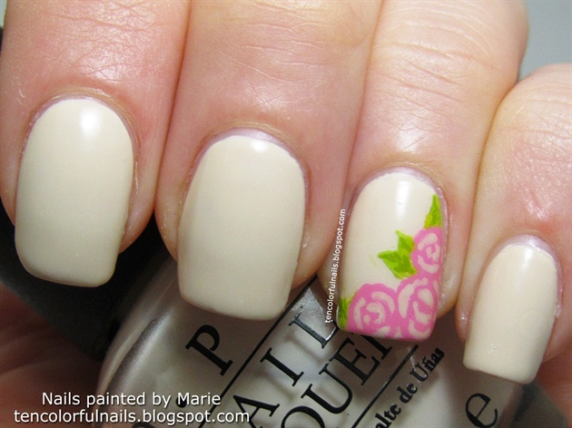 Cream with roses nail art