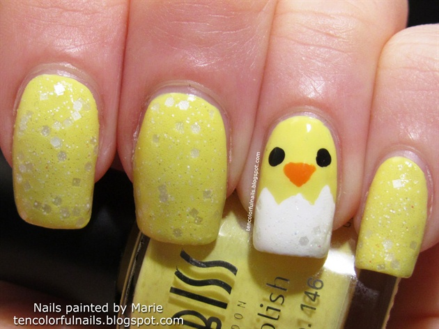 Easy Easter Chick Nail Art Nail Art Gallery Step By Step Tutorial