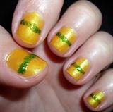Green glitter stripe over yellow