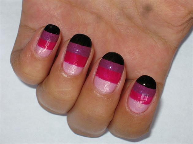 Color Blocking Berry Parfait Nail Design