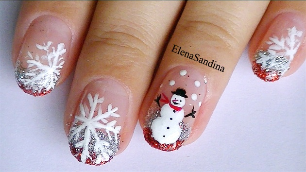 Christmas Snowman and Snowflakes Nails