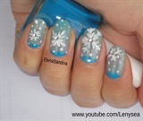 Snowflake and Moon Manicure