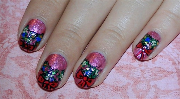 Christmas Wreath Nail Design