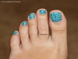 Blue Dots Toe Nail Design