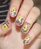 Zebra Floral Nails