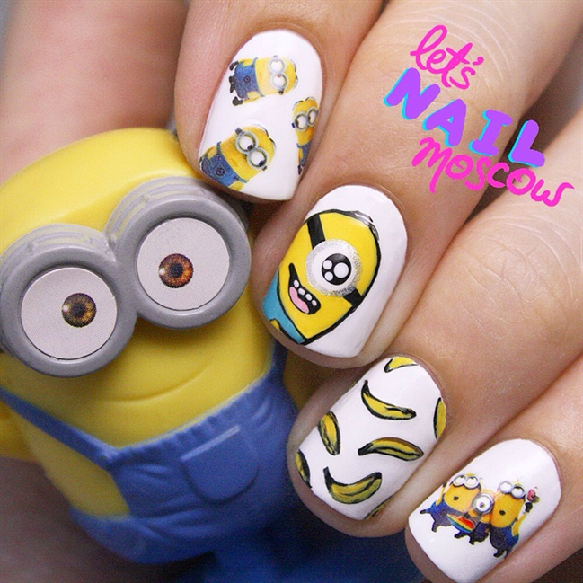 minion nails 😁 - Nail Art Gallery Minions Nail Art Photos