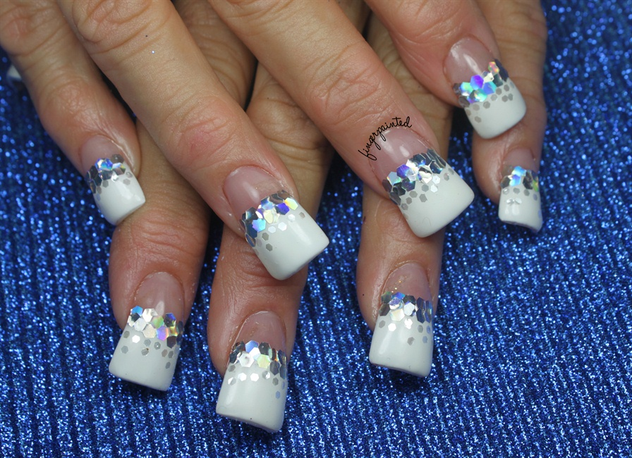 Winter Glitter French - Nail Art Gallery