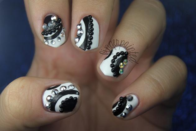 Black And White Rhinestone Nails