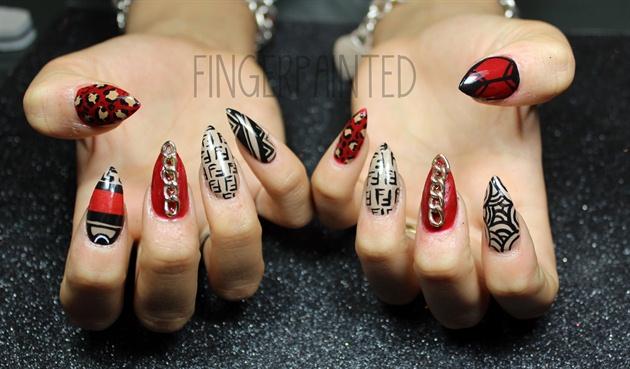 Chains, Fendi, Cheetah Stiletto Nails