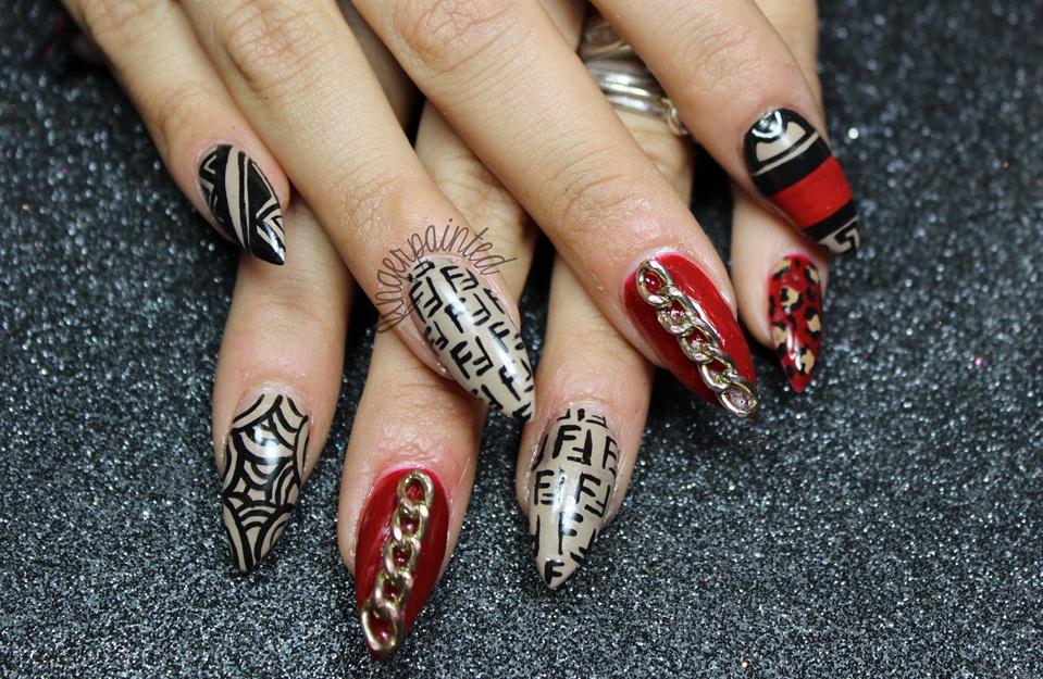 Chains, Fendi, Cheetah Stiletto Nails - Nail Art Gallery