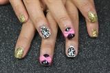 Glitter Damask Bow Gel Nails