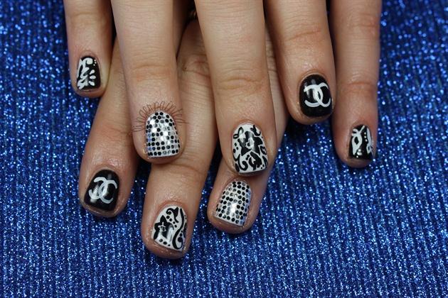 Black and White Glitter Chanel