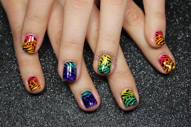 Neon Rainbow Animal Print