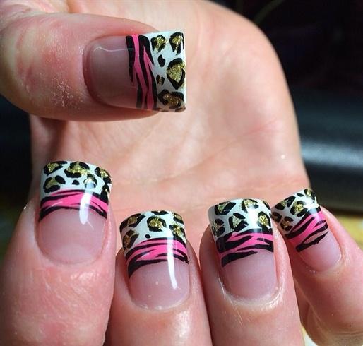 Cheetah Zebra French Manicure