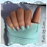 Mint Green with Silver Glitter